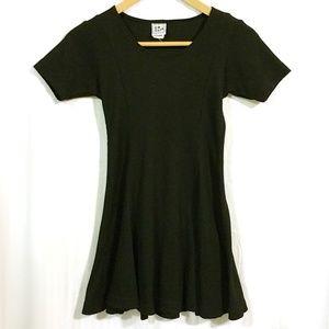VTG 90s Black Waffle Knit Skater Dress Fit & Flare